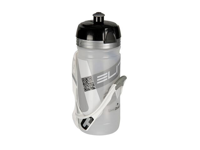 Elite Corsa Cannibal Trinkflasche & Halter 550 ml weiß/clear silber